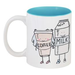 """Кружка цветная внутри """"Идеальная пара"""" - молоко, свадьба, пара, кофе, влюбленные"""