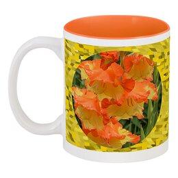 "Кружка цветная внутри ""Лето!"" - лето, цветы, цветок, гладиолус, гладиолусы"