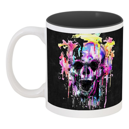 "Кружка цветная внутри ""Череп (краски)"" - skull, череп, краски, подарок, рот"