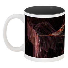 """Кружка цветная внутри """"Абстрактный дизайн"""" - графика, абстракция, линии, лучи, фрактал"""