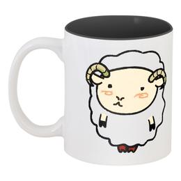 """Кружка цветная внутри """"Овен / Aries"""" - семья, барашек, овен, овечка"""