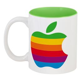 """Кружка цветная внутри """"чашка apple"""" - арт, apple, яблоко"""