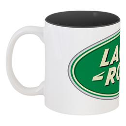 "Кружка цветная внутри ""Land Rover Logo bg"" - 4x4, offroad, land rover, lr"
