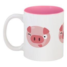 """Кружка цветная внутри """"Свинья"""" - новый год, 2019, поросёнок, свин, год свиньи"""