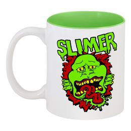 """Кружка цветная внутри """"Лизун (Slimer)"""" - охотники за приведениями, ghostbusters"""