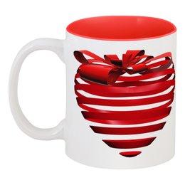 """Кружка цветная внутри """"3d сердце"""" - день святого валентина, 14 февраля, ко дню влюбленных, valentine's day, день влюбленных"""