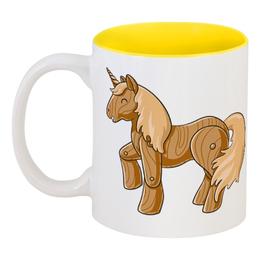 """Кружка цветная внутри """"Единорог"""" - единорог, пони, лошадь, мифы"""