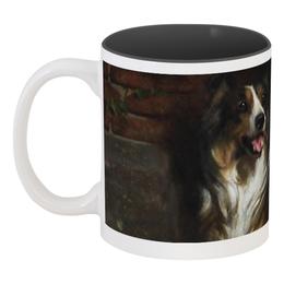 "Кружка цветная внутри ""Колли (картина Артура Вардля)"" - картина, собака, колли, черно-белый, артур вардль"