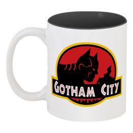 """Кружка цветная внутри """"Бетмэн (Batman)"""" - batman, бетмэн, gotham city, дс"""