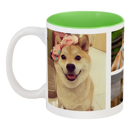 "Кружка цветная внутри ""Собака-улыбака"" - собака, сиба-ину, собака шиба-ину, улыбака"