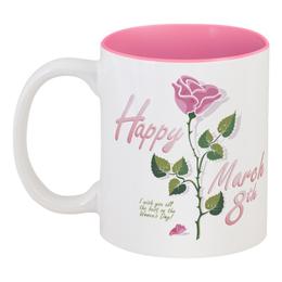 """Кружка цветная внутри """"8 Марта"""" - красиво, 8 марта, международный женский день"""