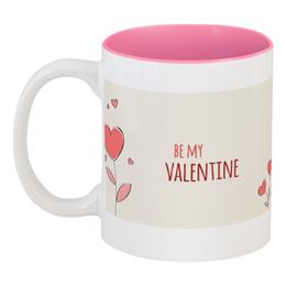 """Кружка цветная внутри """"Валентинка"""" - любовь, коты, валентинка, день св валентина"""