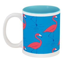 "Кружка цветная внутри ""Розовый фламинго"" - птицы, яркий, фламинго, розовый фламинго"