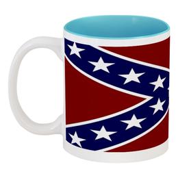 """Кружка цветная внутри """"Флаг Конфедерации США"""" - война, америка, флаг, сша, флаг конфедерации"""