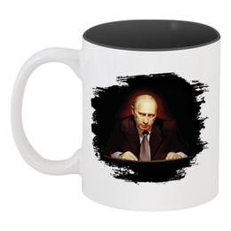 """Кружка цветная внутри """"Путин в темноте"""" - любовь, москва, владимир, россия, патриотизм, политика, путин, президент, putin, общество"""