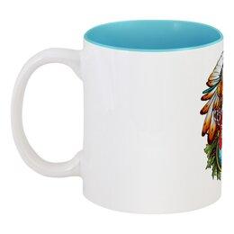 """Кружка цветная внутри """"Лиса-шаманка"""" - арт, популярные, лиса, fox, шаман, shamanism"""