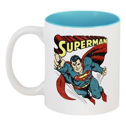 """Кружка цветная внутри """"Супермен"""" - супермен, комиксы, superman, супергерои"""