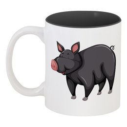 """Кружка цветная внутри """"Кабан"""" - новый год, свинья, 2019, свин, год свиньи"""