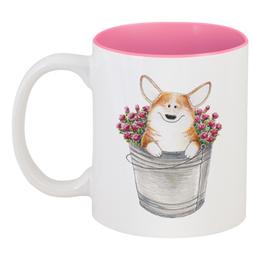 """Кружка цветная внутри """"Корги и розы"""" - цветы, собака, розы, собаки, корги"""