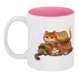 "Кружка цветная внутри ""Еда из кота"" - кот, еда"