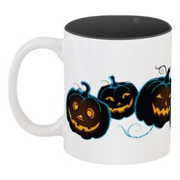 """Кружка цветная внутри """"Улыбчивые тыквы"""" - праздник, хэллоуин, интересная, тыква, необычная"""