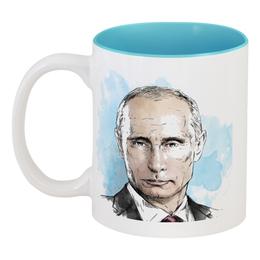 """Кружка цветная внутри """"Страха нет!"""" - путин, россия, putin"""