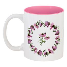 """Кружка цветная внутри """"Венок из эхинацеи"""" - цветок, иллюстрация, скетч, botanicalart, эхинацея"""