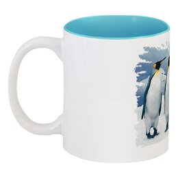 """Кружка цветная внутри """"Три пингвина"""" - птица, снег, акварель, пингвин, антарктида"""