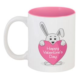 """Кружка цветная внутри """"Кролик с сердечком"""" - сердце, арт, день святого валентина, заяц, кролик"""