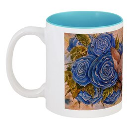 """Кружка цветная внутри """"Сфинкс и синие розы """" - кот, цветы, рисунок, розы, сфинкс"""