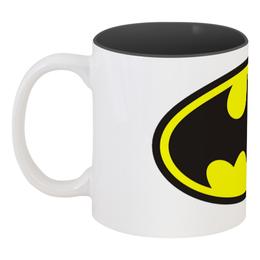 """Кружка цветная внутри """"Batman"""" - batman, бэтмен, супергерой, бэтмэн, человек-мышь"""