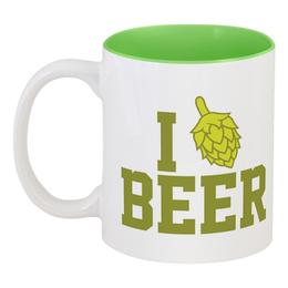 "Кружка цветная внутри ""Я люблю пиво"" - пиво, beer, я люблю пиво, i love beer"