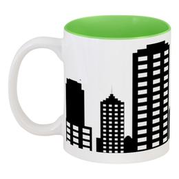 """Кружка цветная внутри """"Мой год"""" - город, иллюстрация, монохром, небоскребы, мегаполис"""