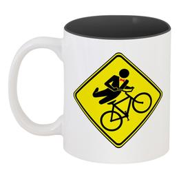 """Кружка цветная внутри """"Велосипедист"""" - спорт, велосипед, велоспорт, велосипедист"""