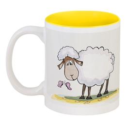 """Кружка цветная внутри """"Год овечки"""" - юмор, sheep, овечка, год овечки"""