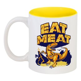 """Кружка цветная внутри """"Динозавр"""" - динозавры, ешь мясо"""