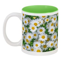 """Кружка цветная внутри """"Ромашковое поле."""" - цветок, ромашка, природа, поле, флора"""