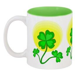 """Кружка цветная внутри """"День святого Патрика - волшебный четырехлистник"""" - зеленый, паттерн, лист клевера, день святого патрика, четырехлистник"""