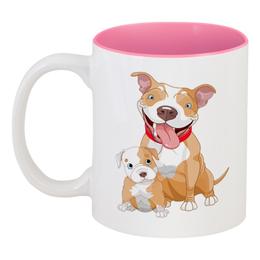 """Кружка цветная внутри """"Собачки"""" - новый год, щенок, собака, 2018, год собаки"""