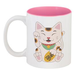 """Кружка цветная внутри """"Кошка"""" - кот, кошка, рисунок, животное"""
