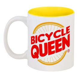 """Кружка цветная внутри """"Велосипедная  королева"""" - велосипед, велосипедная королева, бургер кинг"""