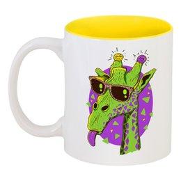"""Кружка цветная внутри """"Забавный жираф"""" - жираф, очки, сафари"""