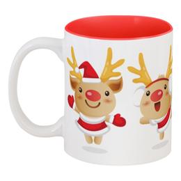 """Кружка цветная внутри """"Рождественские олени"""" - олень, рога, рождество, праздник, новый год"""