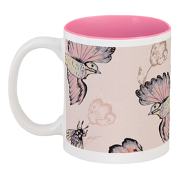 """Кружка цветная внутри """"Птицы и пчёлы"""" - цветы, птицы, природа, пчёлы"""