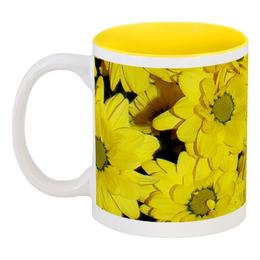 """Кружка цветная внутри """"Жёлтые хризантемы"""" - цветы, хризантемы, желтые цветы"""