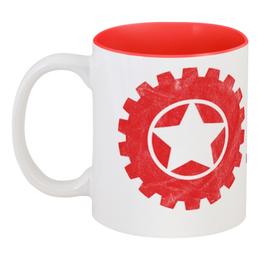 """Кружка цветная внутри """"RED'S Logo"""" - red, мотоцикл, байкер, механика, шестерёнки"""