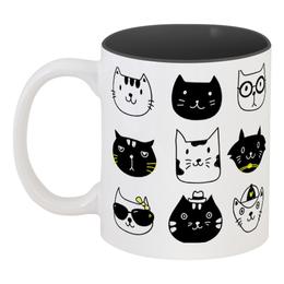 """Кружка цветная внутри """"Милые котики"""" - кот, животные, котики, прикольные коты"""