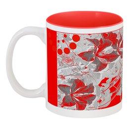 """Кружка цветная внутри """"Красный."""" - цветы, серый, красный, фантазия, цветник"""