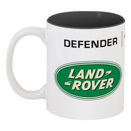 "Кружка цветная внутри ""DEFENDER 110"" - 4x4, offroad, defender, land rover, lr"