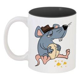 """Кружка цветная внутри """"Крыса"""" - новый год, сыр, крыса, 2020, год крысы"""